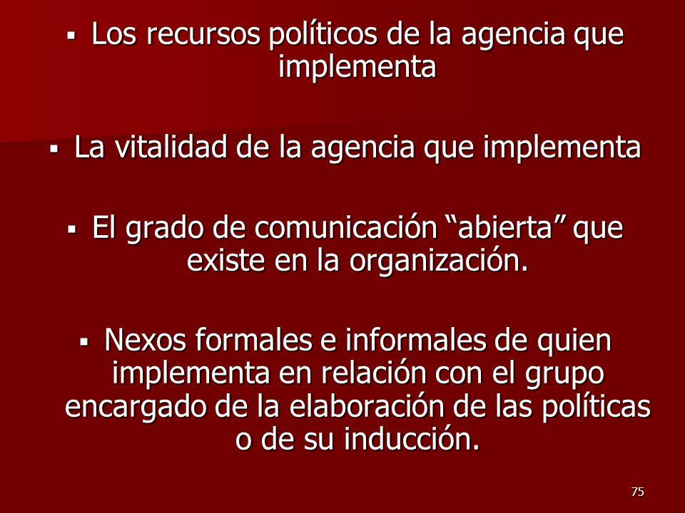 75 Los recursos políticos de la agencia que implementa Los recursos políticos de la agencia que implementa La vitalidad de la agencia que implementa L