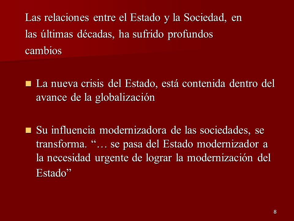 8 Las relaciones entre el Estado y la Sociedad, en las últimas décadas, ha sufrido profundos cambios La nueva crisis del Estado, está contenida dentro