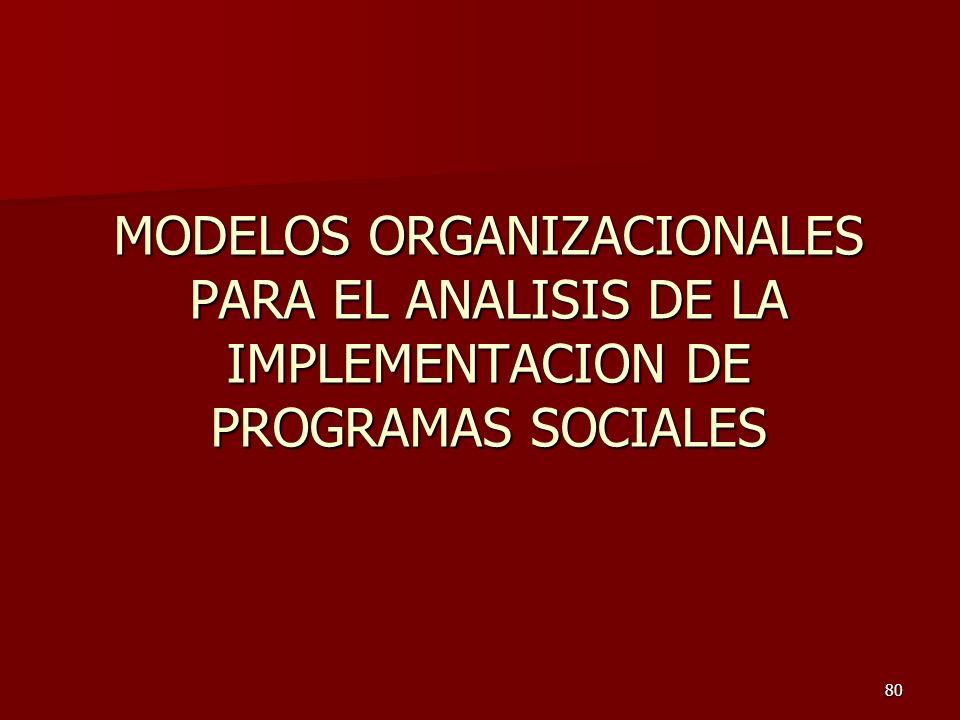 80 MODELOS ORGANIZACIONALES PARA EL ANALISIS DE LA IMPLEMENTACION DE PROGRAMAS SOCIALES