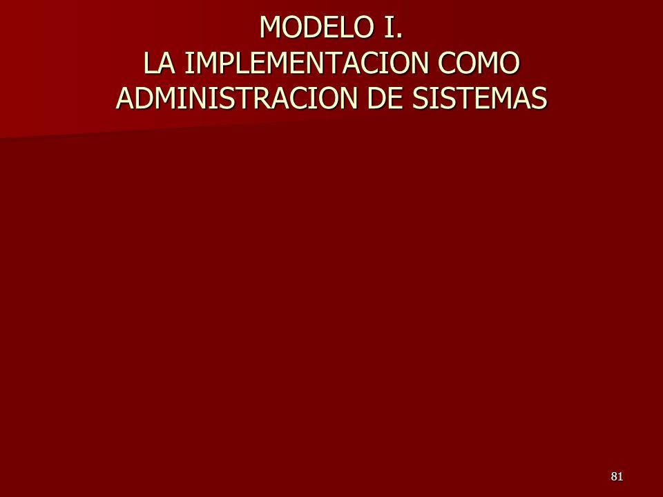 81 MODELO I. LA IMPLEMENTACION COMO ADMINISTRACION DE SISTEMAS