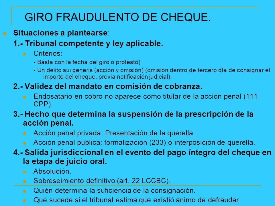 GIRO FRAUDULENTO DE CHEQUE.Situaciones a plantearse: 1.- Tribunal competente y ley aplicable.