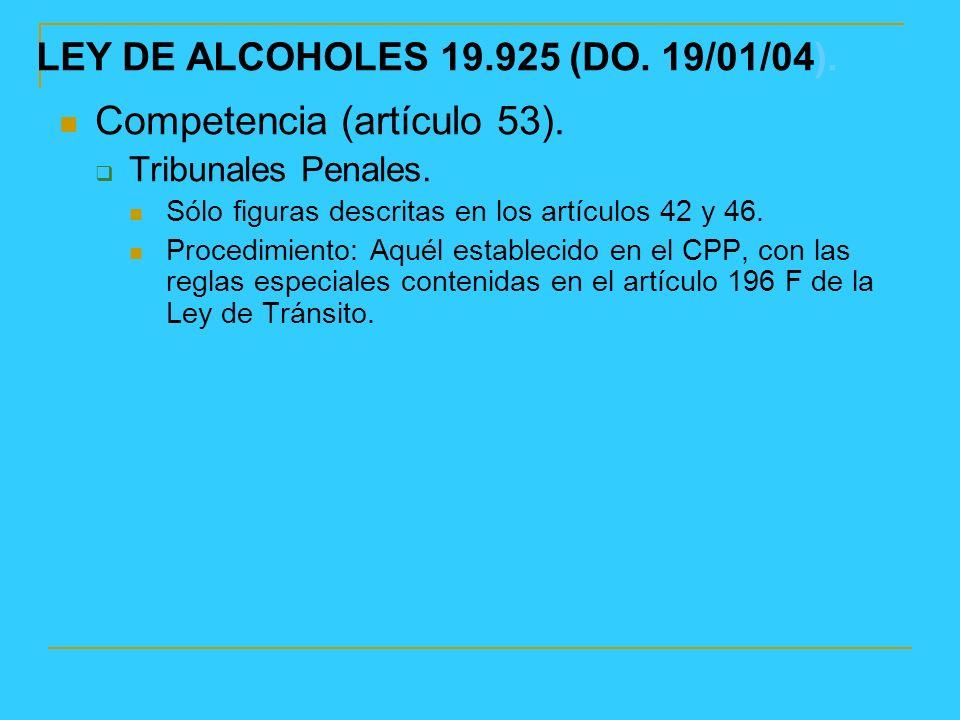 LEY DE ALCOHOLES 19.925 (DO.19/01/04). Competencia (artículo 53).
