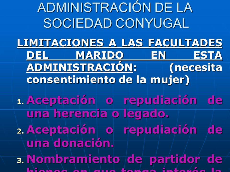 21 ADMINISTRACIÓN DE LA SOCIEDAD CONYUGAL LIMITACIONES A LAS FACULTADES DEL MARIDO EN ESTA ADMINISTRACIÓN: (necesita consentimiento de la mujer) 1. Ac