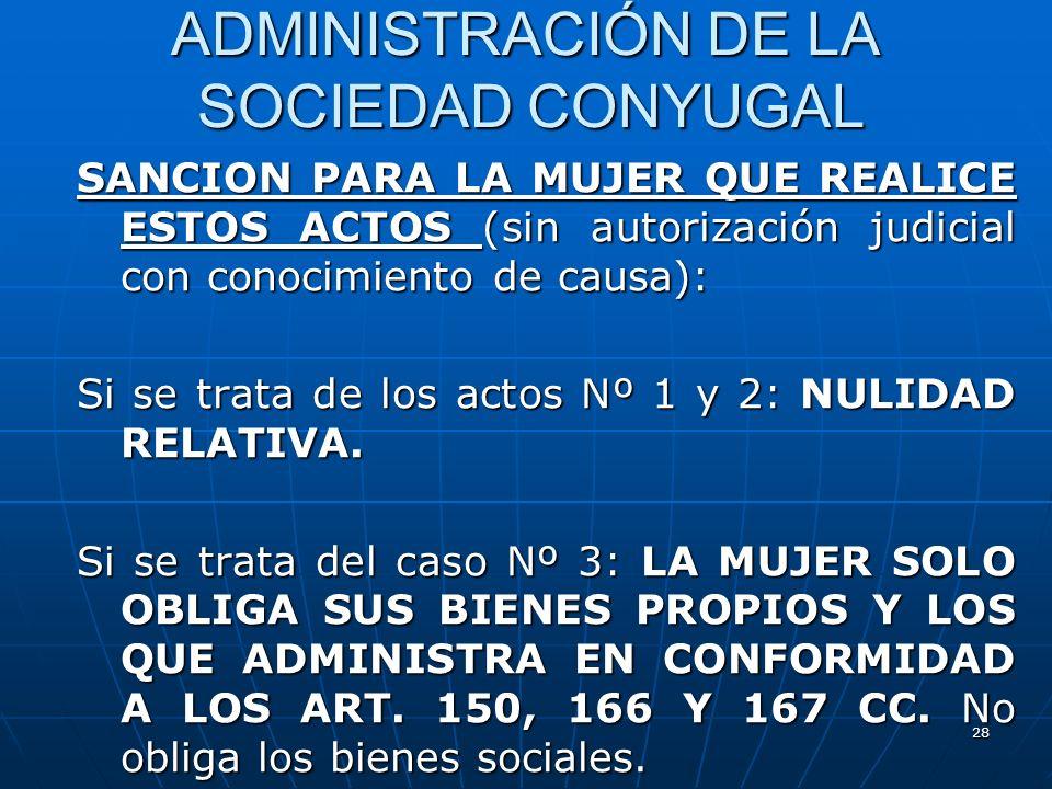 28 ADMINISTRACIÓN DE LA SOCIEDAD CONYUGAL SANCION PARA LA MUJER QUE REALICE ESTOS ACTOS (sin autorización judicial con conocimiento de causa): Si se t