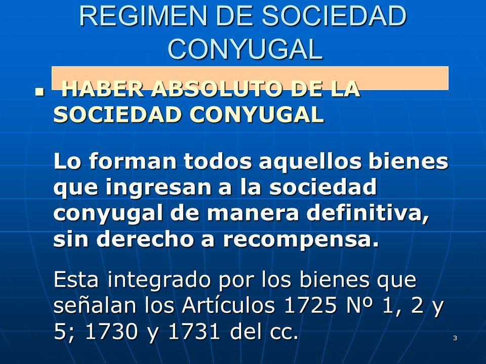 3 REGIMEN DE SOCIEDAD CONYUGAL HABER ABSOLUTO DE LA SOCIEDAD CONYUGAL HABER ABSOLUTO DE LA SOCIEDAD CONYUGAL Lo forman todos aquellos bienes que ingre