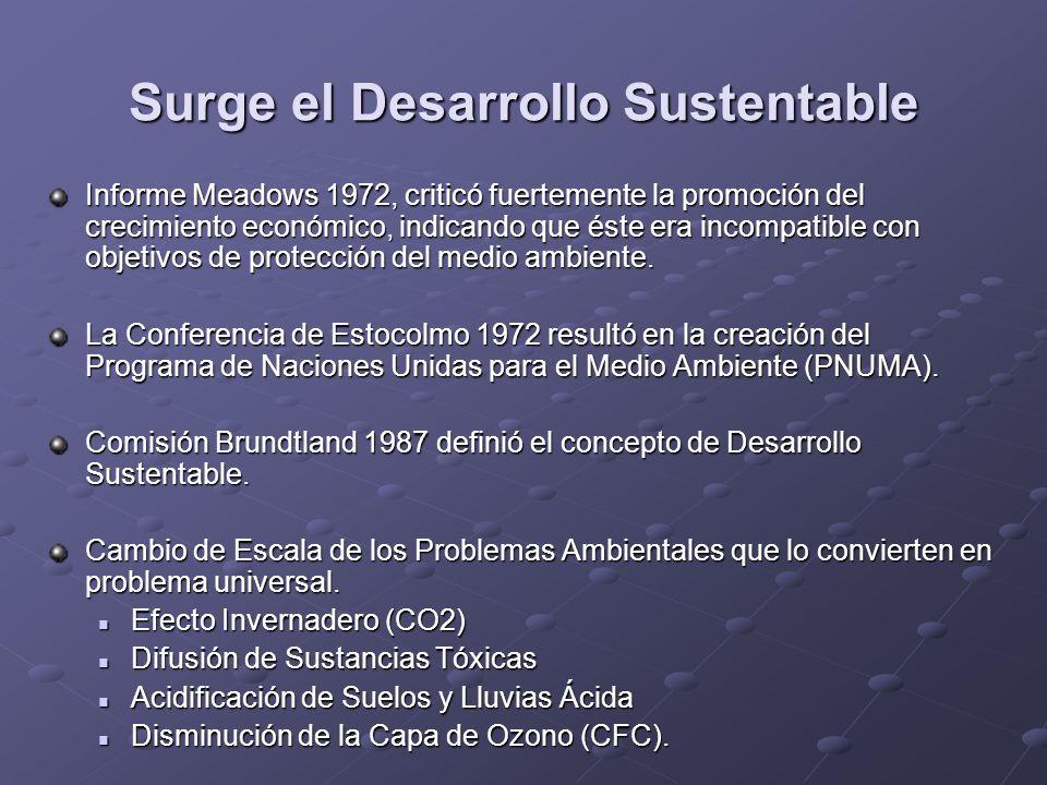 Surge el Desarrollo Sustentable Informe Meadows 1972, criticó fuertemente la promoción del crecimiento económico, indicando que éste era incompatible
