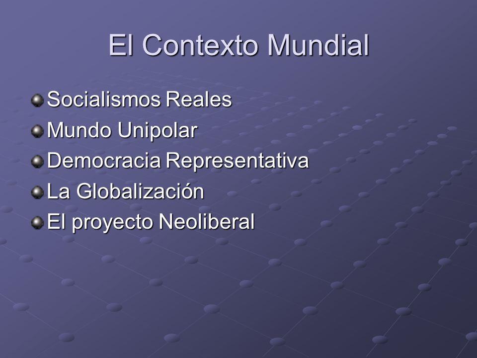 El Contexto Mundial Socialismos Reales Mundo Unipolar Democracia Representativa La Globalización El proyecto Neoliberal