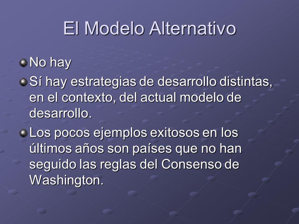 El Modelo Alternativo No hay Sí hay estrategias de desarrollo distintas, en el contexto, del actual modelo de desarrollo. Los pocos ejemplos exitosos