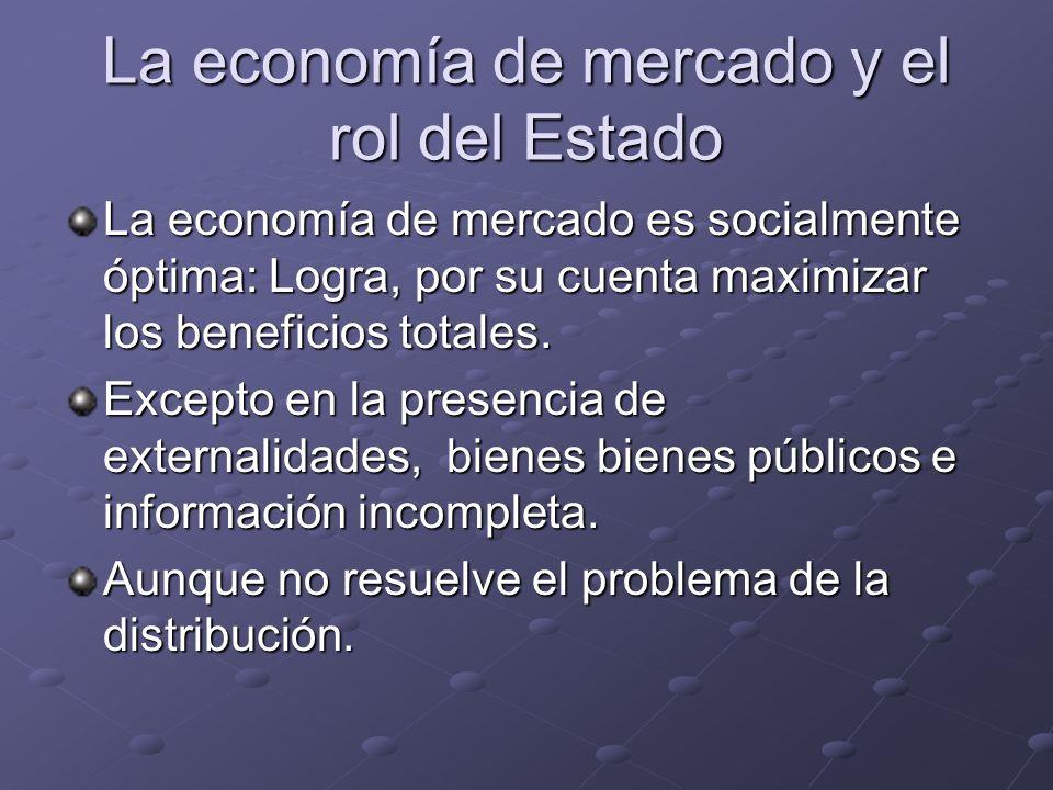 La economía de mercado y el rol del Estado La economía de mercado es socialmente óptima: Logra, por su cuenta maximizar los beneficios totales. Except