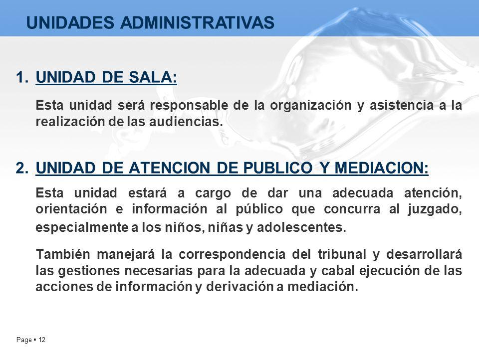 Page 12 1.UNIDAD DE SALA: Esta unidad será responsable de la organización y asistencia a la realización de las audiencias. 2.UNIDAD DE ATENCION DE PUB