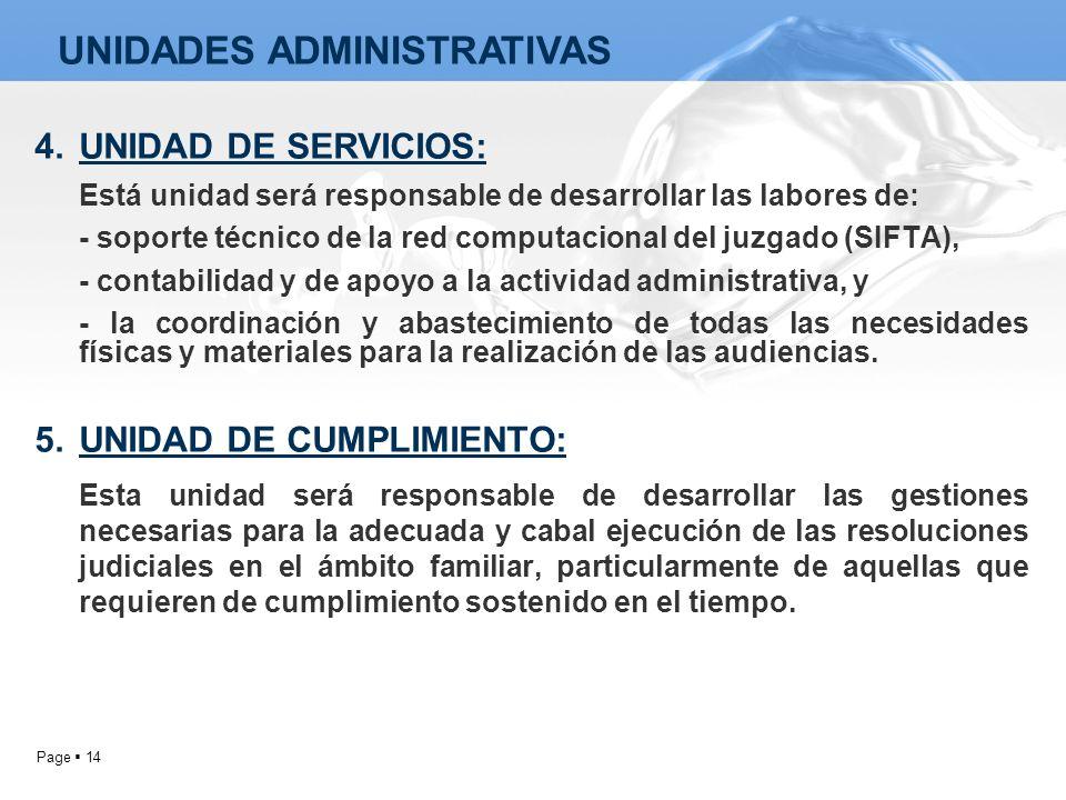 Page 14 4.UNIDAD DE SERVICIOS: Está unidad será responsable de desarrollar las labores de: - soporte técnico de la red computacional del juzgado (SIFT