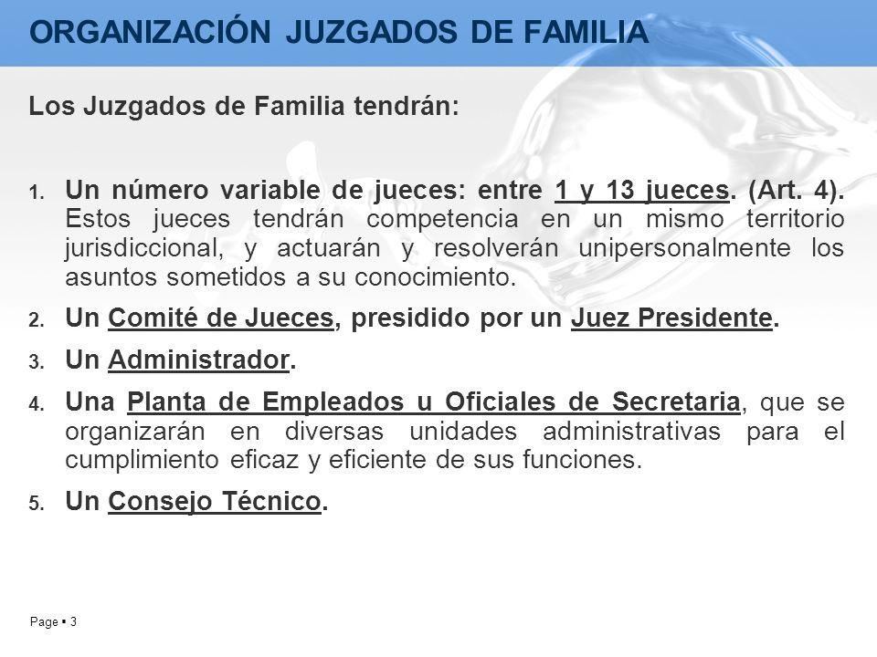 Page 3 Los Juzgados de Familia tendrán: 1. Un número variable de jueces: entre 1 y 13 jueces. (Art. 4). Estos jueces tendrán competencia en un mismo t