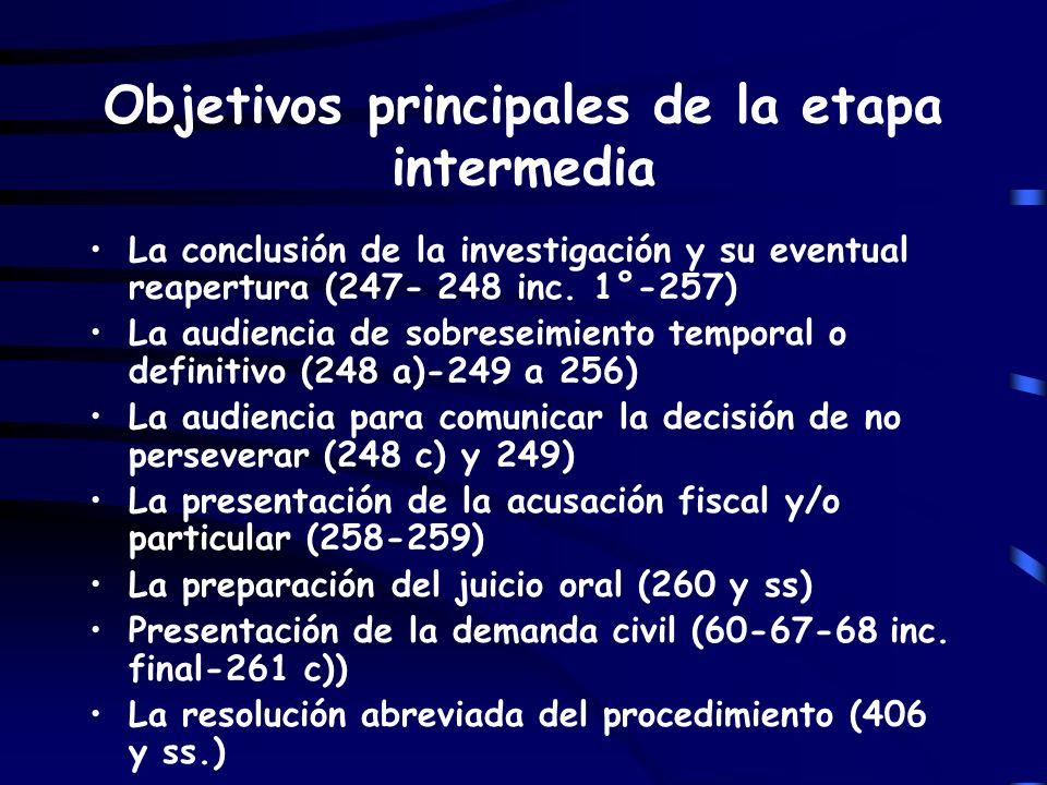 Objetivos principales de la etapa intermedia La conclusión de la investigación y su eventual reapertura (247- 248 inc. 1°-257) La audiencia de sobrese