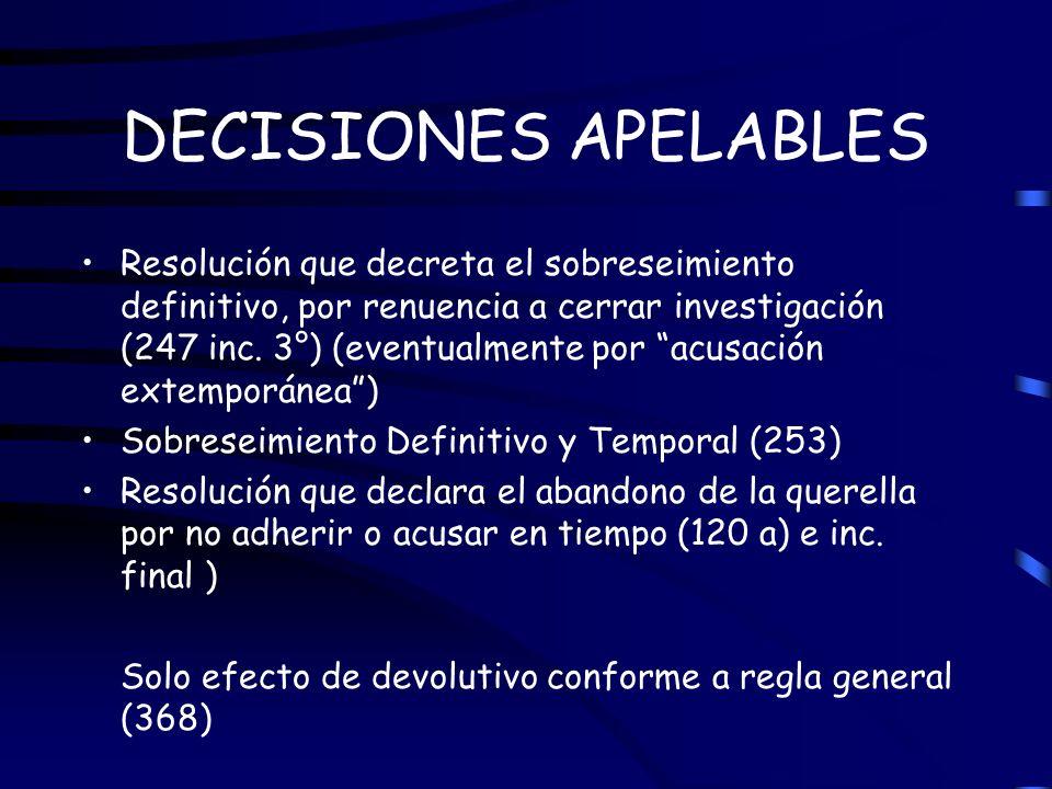 DECISIONES APELABLES Resolución que decreta el sobreseimiento definitivo, por renuencia a cerrar investigación (247 inc. 3°) (eventualmente por acusac