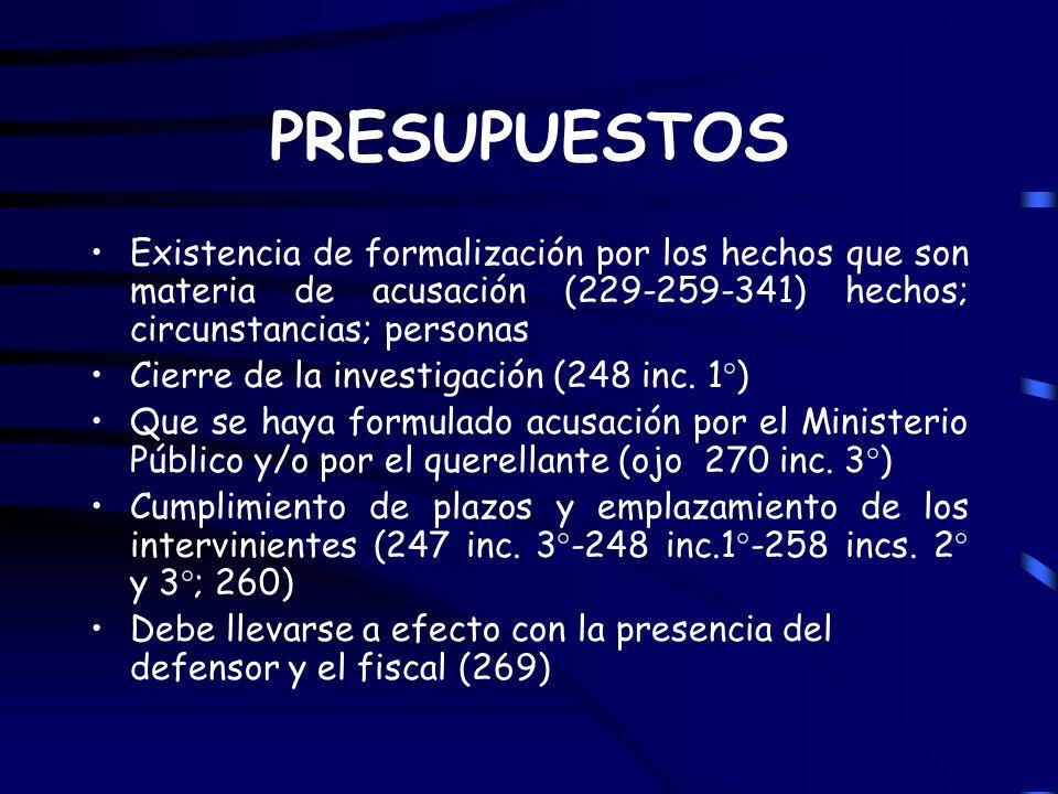 PRESUPUESTOS Existencia de formalización por los hechos que son materia de acusación (229-259-341) hechos; circunstancias; personas Cierre de la inves
