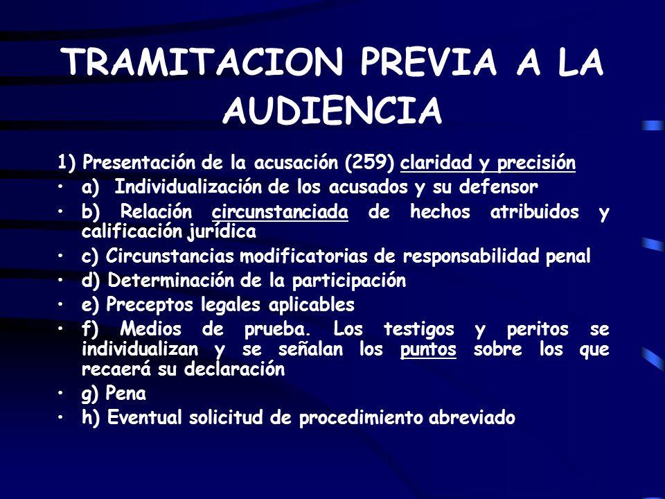 TRAMITACION PREVIA A LA AUDIENCIA 1) Presentación de la acusación (259) claridad y precisión a) Individualización de los acusados y su defensor b) Rel