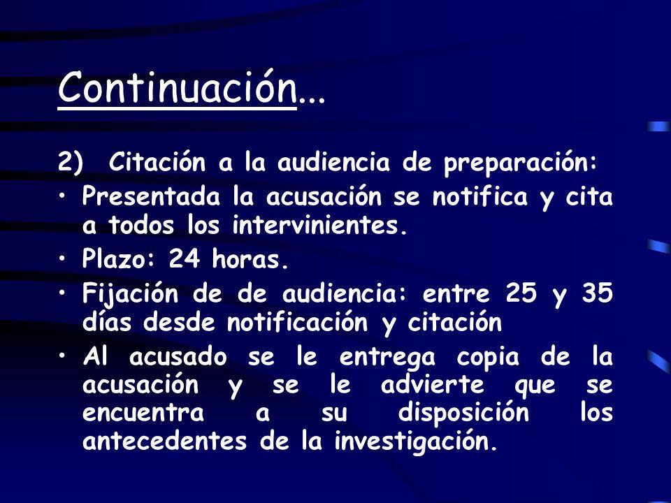 Continuación... 2) Citación a la audiencia de preparación: Presentada la acusación se notifica y cita a todos los intervinientes. Plazo: 24 horas. Fij