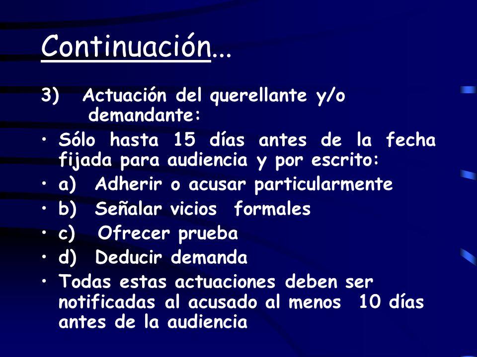 Continuación... 3) Actuación del querellante y/o demandante: Sólo hasta 15 días antes de la fecha fijada para audiencia y por escrito: a) Adherir o ac