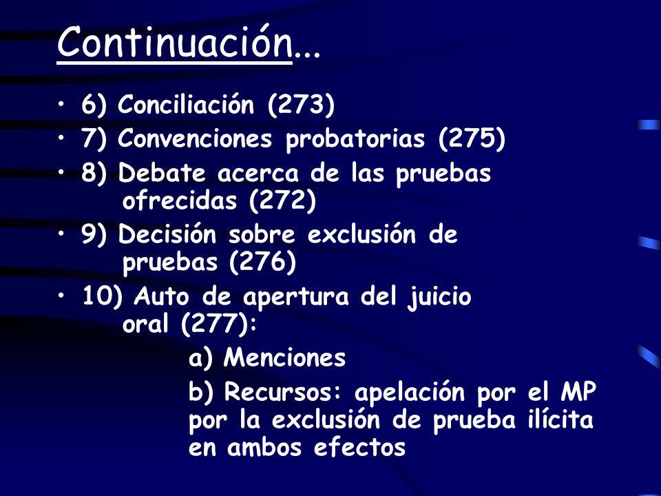 Continuación... 6) Conciliación (273) 7) Convenciones probatorias (275) 8) Debate acerca de las pruebas ofrecidas (272) 9) Decisión sobre exclusión de