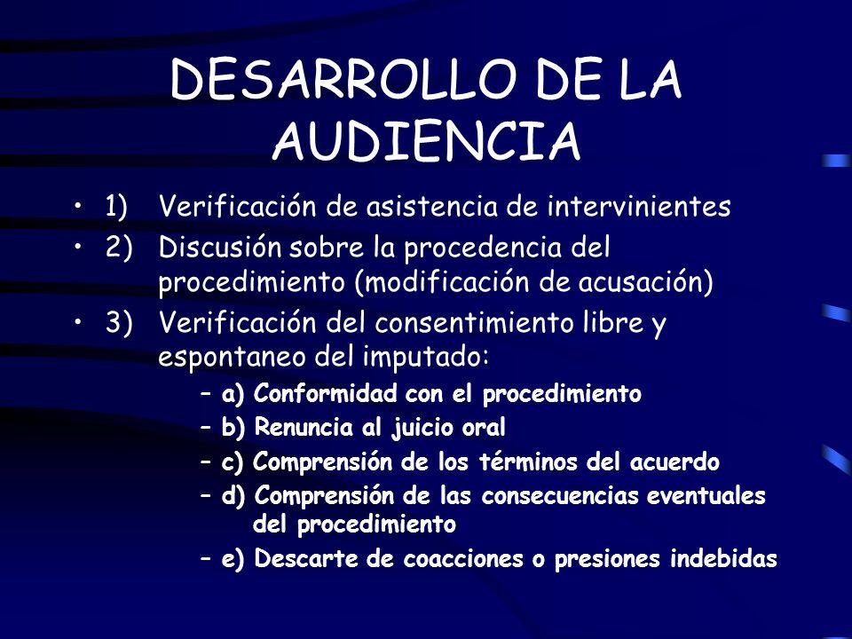 DESARROLLO DE LA AUDIENCIA 1) Verificación de asistencia de intervinientes 2) Discusión sobre la procedencia del procedimiento (modificación de acusac