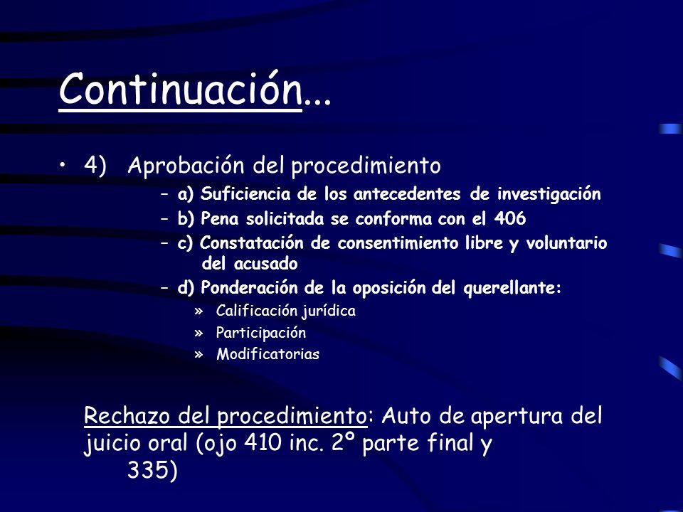Continuación... 4) Aprobación del procedimiento –a) Suficiencia de los antecedentes de investigación –b) Pena solicitada se conforma con el 406 –c) Co