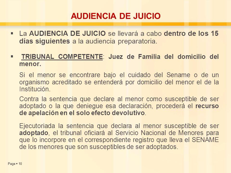 Page 10 La AUDIENCIA DE JUICIO se llevará a cabo dentro de los 15 días siguientes a la audiencia preparatoria. TRIBUNAL COMPETENTE: Juez de Familia de
