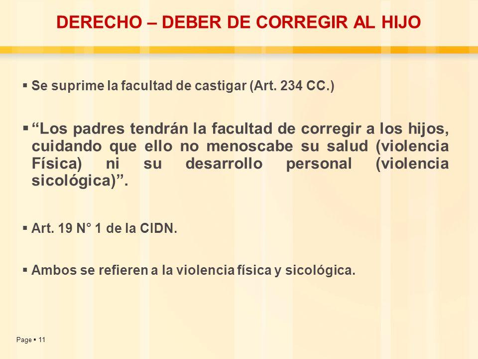Page 11 DERECHO – DEBER DE CORREGIR AL HIJO Se suprime la facultad de castigar (Art. 234 CC.) Los padres tendrán la facultad de corregir a los hijos,