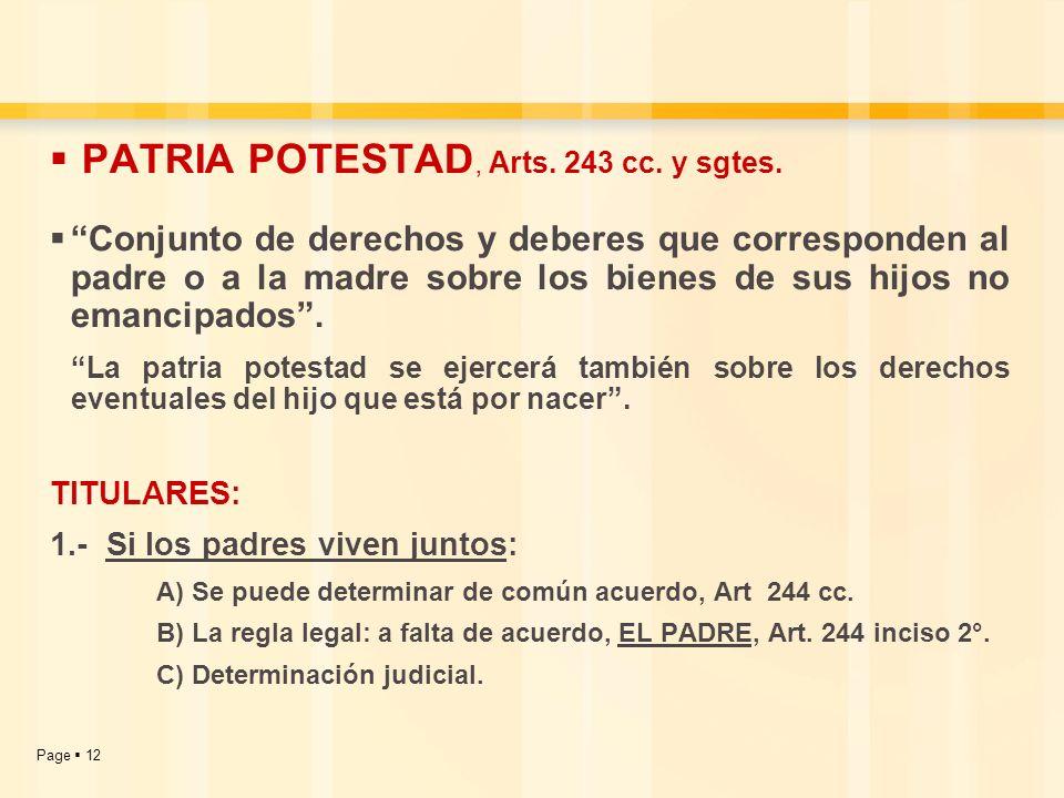 Page 12 PATRIA POTESTAD, Arts. 243 cc. y sgtes. Conjunto de derechos y deberes que corresponden al padre o a la madre sobre los bienes de sus hijos no