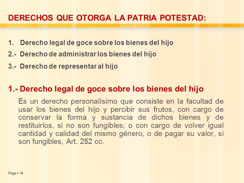 Page 14 DERECHOS QUE OTORGA LA PATRIA POTESTAD: 1. Derecho legal de goce sobre los bienes del hijo 2.- Derecho de administrar los bienes del hijo 3.-