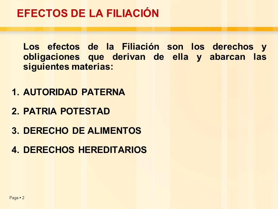 Page 2 EFECTOS DE LA FILIACIÓN Los efectos de la Filiación son los derechos y obligaciones que derivan de ella y abarcan las siguientes materias: 1.AU