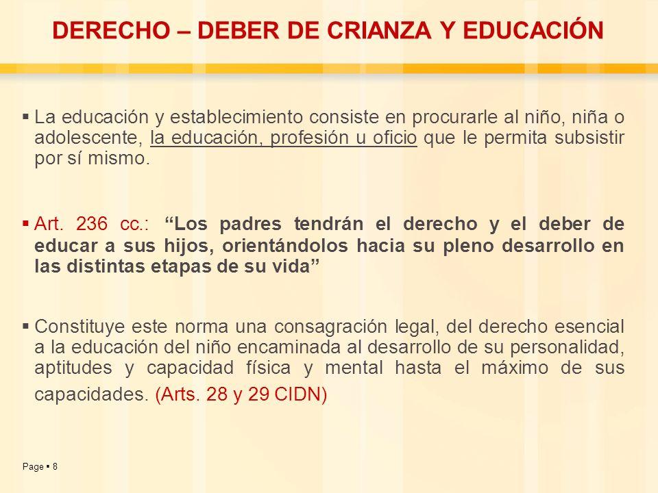 Page 8 DERECHO – DEBER DE CRIANZA Y EDUCACIÓN La educación y establecimiento consiste en procurarle al niño, niña o adolescente, la educación, profesi