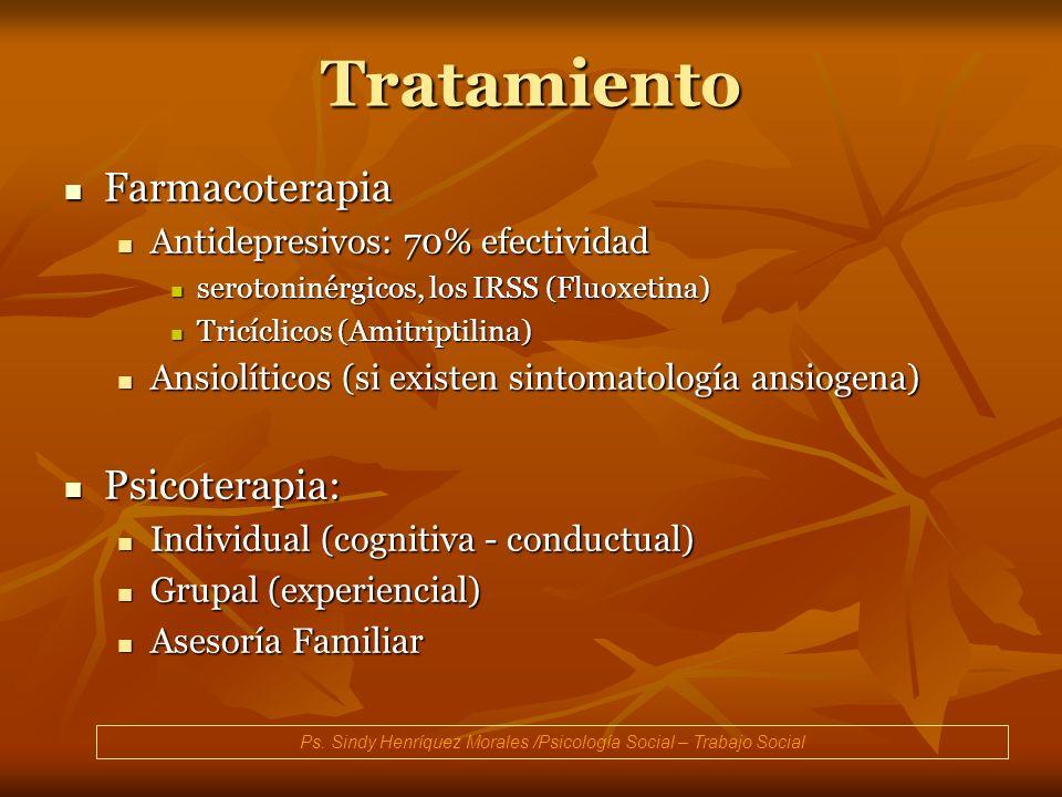 Tratamiento Farmacoterapia Farmacoterapia Antidepresivos: 70% efectividad Antidepresivos: 70% efectividad serotoninérgicos, los IRSS (Fluoxetina) sero