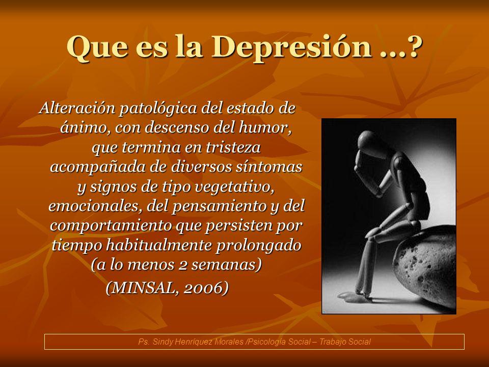 Que es la Depresión …? Alteración patológica del estado de ánimo, con descenso del humor, que termina en tristeza acompañada de diversos síntomas y si