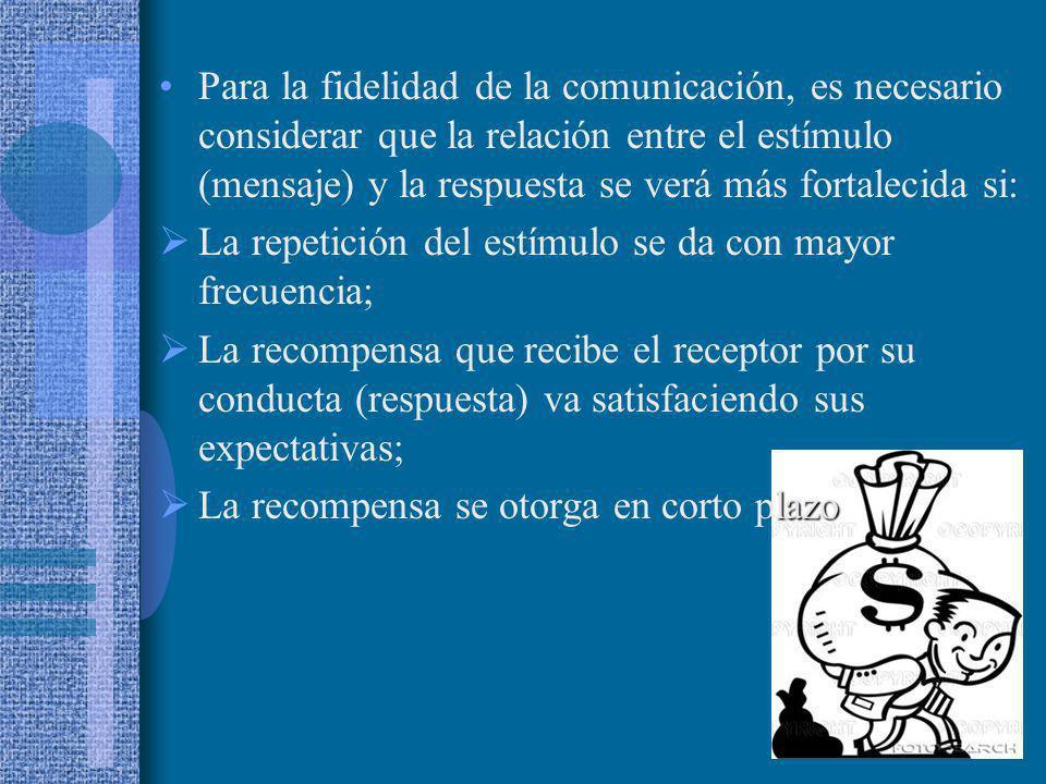 Para la fidelidad de la comunicación, es necesario considerar que la relación entre el estímulo (mensaje) y la respuesta se verá más fortalecida si: L