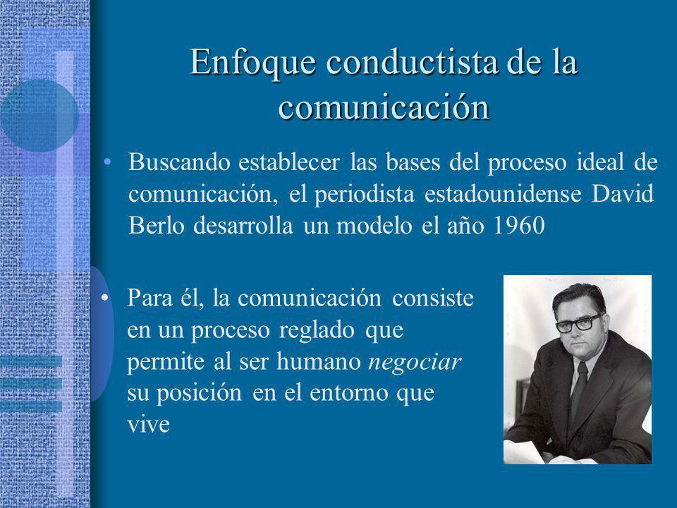 Enfoque conductista de la comunicación Buscando establecer las bases del proceso ideal de comunicación, el periodista estadounidense David Berlo desar