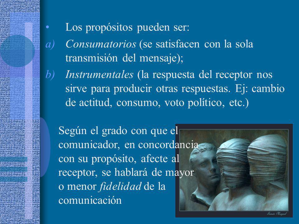 Los propósitos pueden ser: a)Consumatorios (se satisfacen con la sola transmisión del mensaje); b)Instrumentales (la respuesta del receptor nos sirve