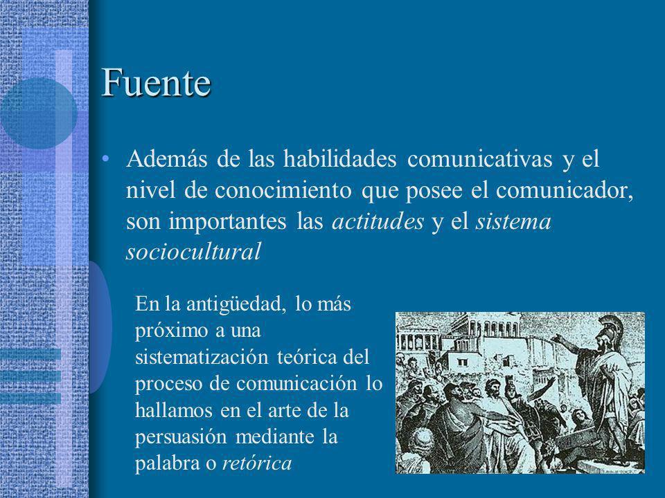 Fuente Además de las habilidades comunicativas y el nivel de conocimiento que posee el comunicador, son importantes las actitudes y el sistema sociocu