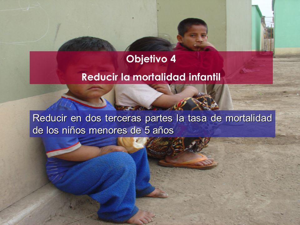 Objetivo 4 Reducir la mortalidad infantil Reducir en dos terceras partes la tasa de mortalidad de los niños menores de 5 años