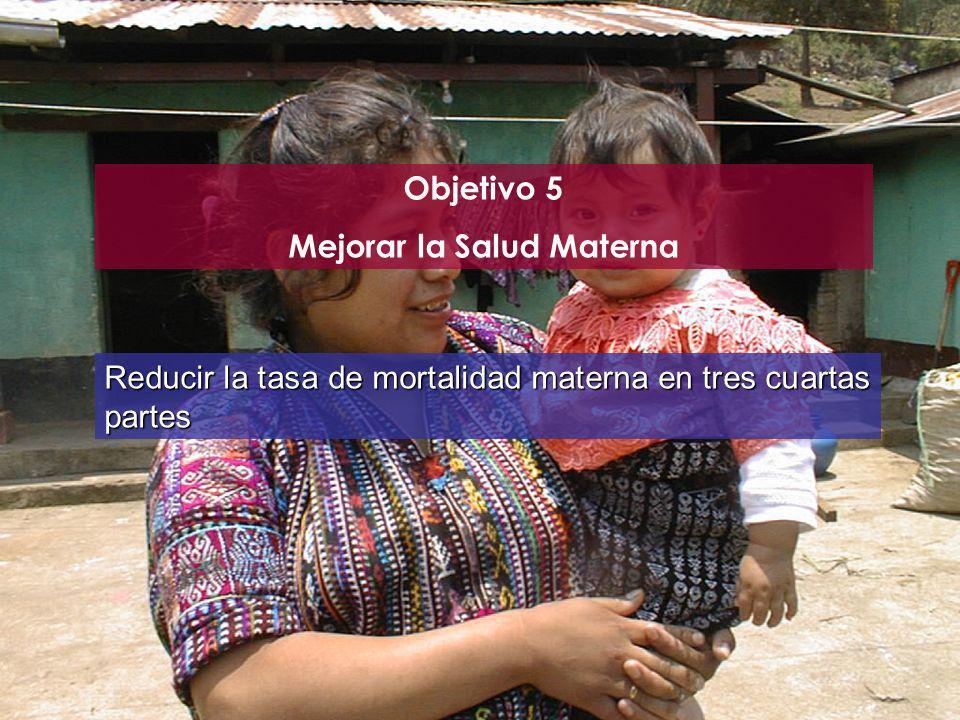 Objetivo 5 Mejorar la Salud Materna Reducir la tasa de mortalidad materna en tres cuartas partes