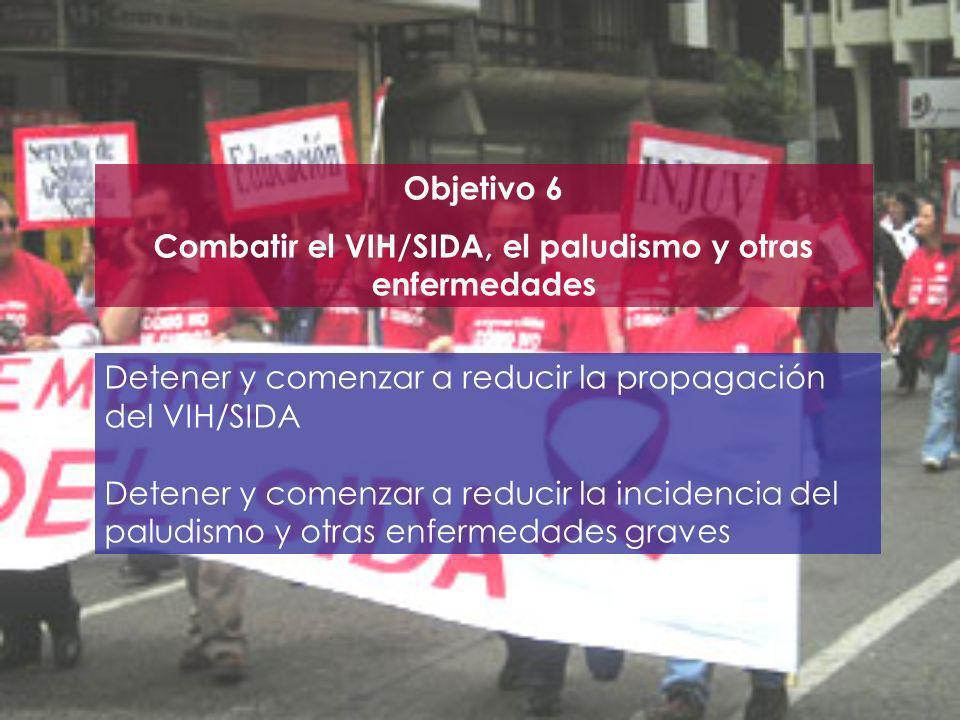 Objetivo 6 Combatir el VIH/SIDA, el paludismo y otras enfermedades Detener y comenzar a reducir la propagación del VIH/SIDA Detener y comenzar a reduc