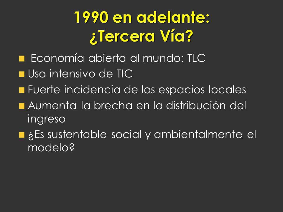 1990 en adelante: ¿Tercera Vía? Economía abierta al mundo: TLC Uso intensivo de TIC Fuerte incidencia de los espacios locales Aumenta la brecha en la