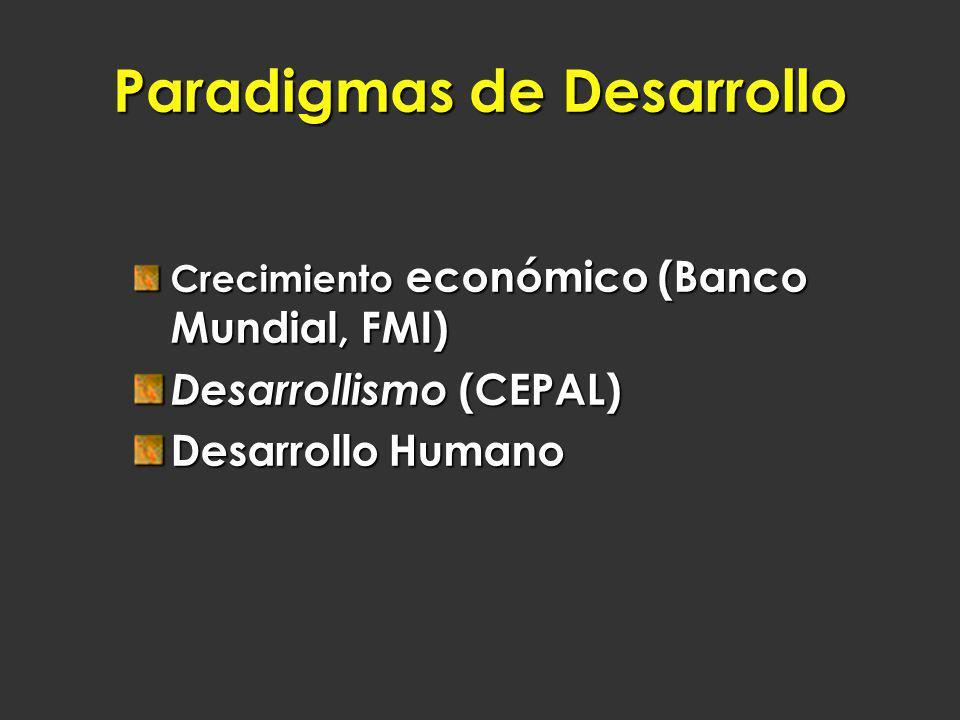 Paradigmas de Desarrollo Crecimiento económico (Banco Mundial, FMI) Desarrollismo (CEPAL) Desarrollo Humano