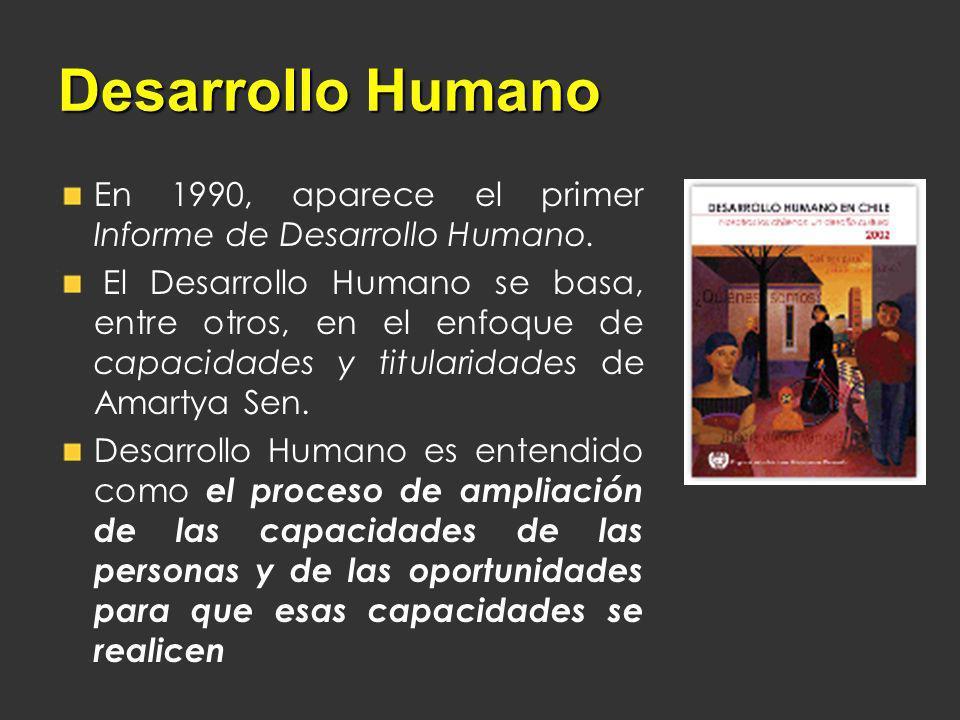 Desarrollo Humano En 1990, aparece el primer Informe de Desarrollo Humano. El Desarrollo Humano se basa, entre otros, en el enfoque de capacidades y t