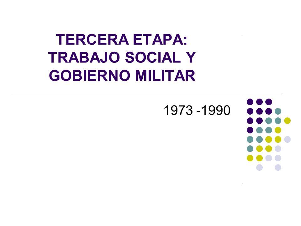 TERCERA ETAPA: TRABAJO SOCIAL Y GOBIERNO MILITAR 1973 -1990