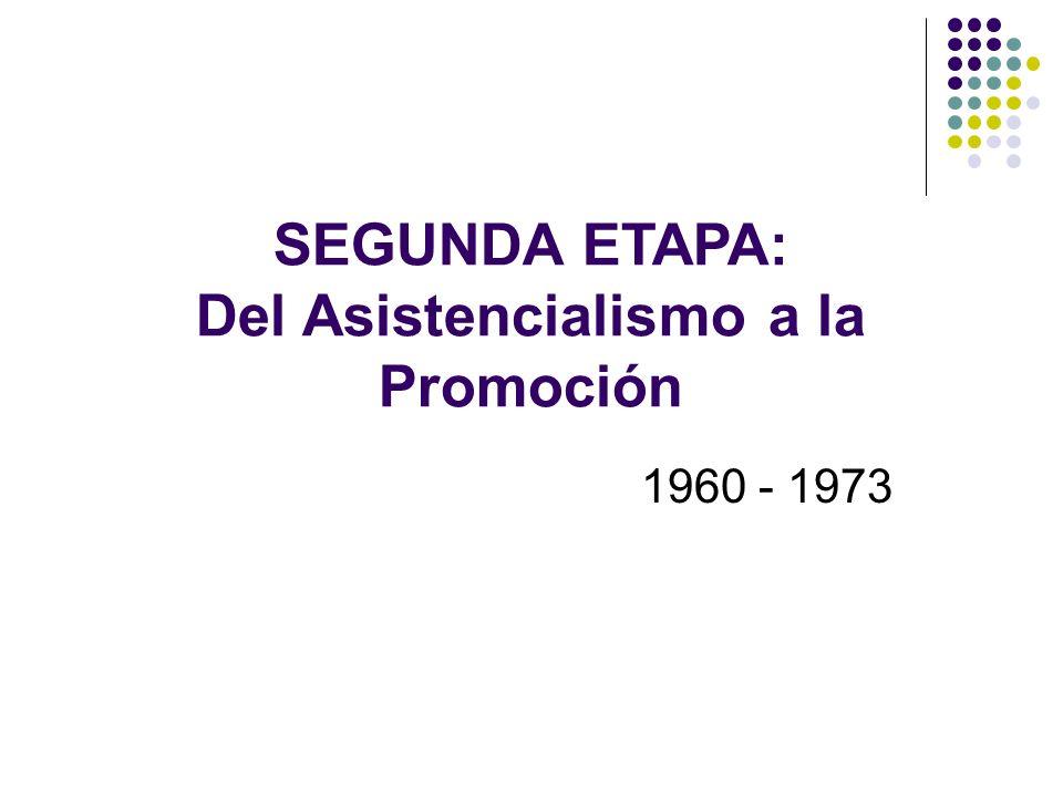 SEGUNDA ETAPA: Del Asistencialismo a la Promoción 1960 - 1973