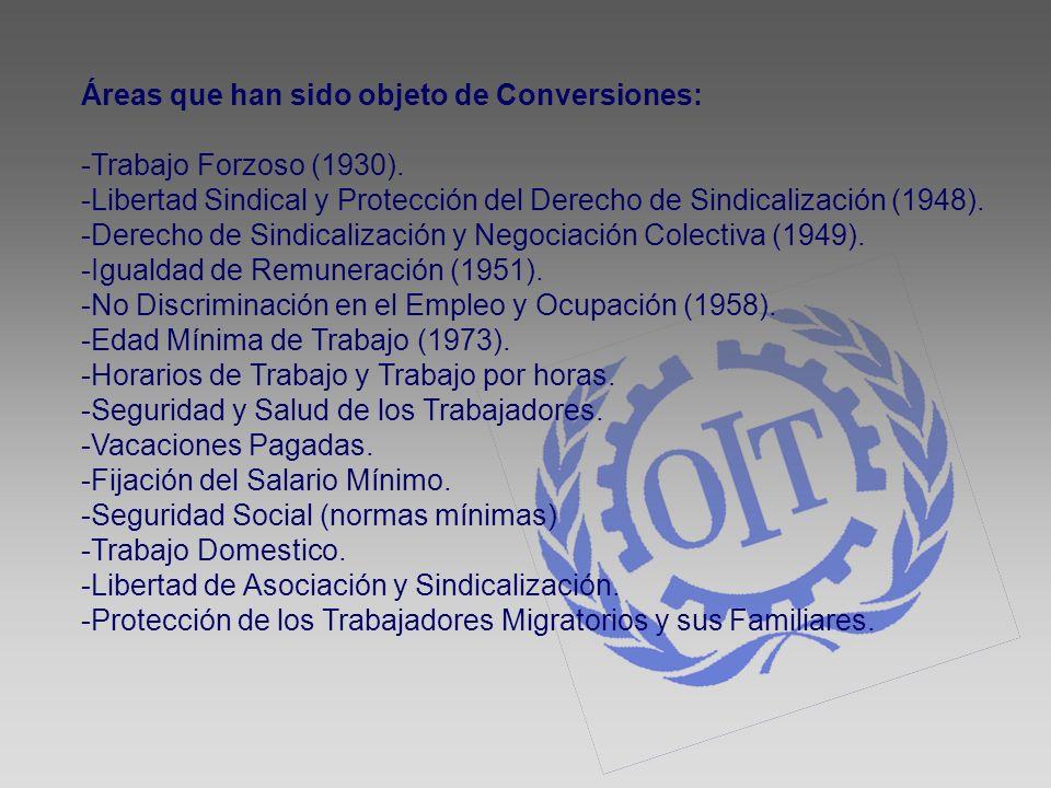 Áreas que han sido objeto de Conversiones: -Trabajo Forzoso (1930). -Libertad Sindical y Protección del Derecho de Sindicalización (1948). -Derecho de