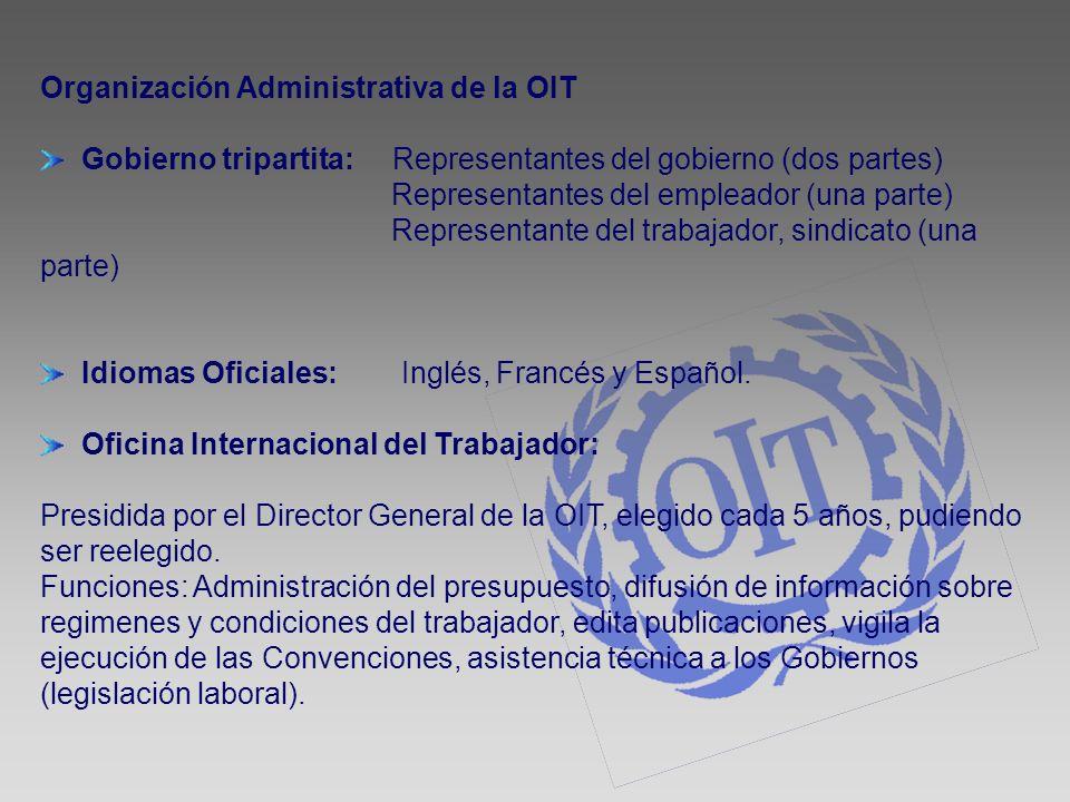 Organización Administrativa de la OIT Gobierno tripartita: Representantes del gobierno (dos partes) Representantes del empleador (una parte) Represent