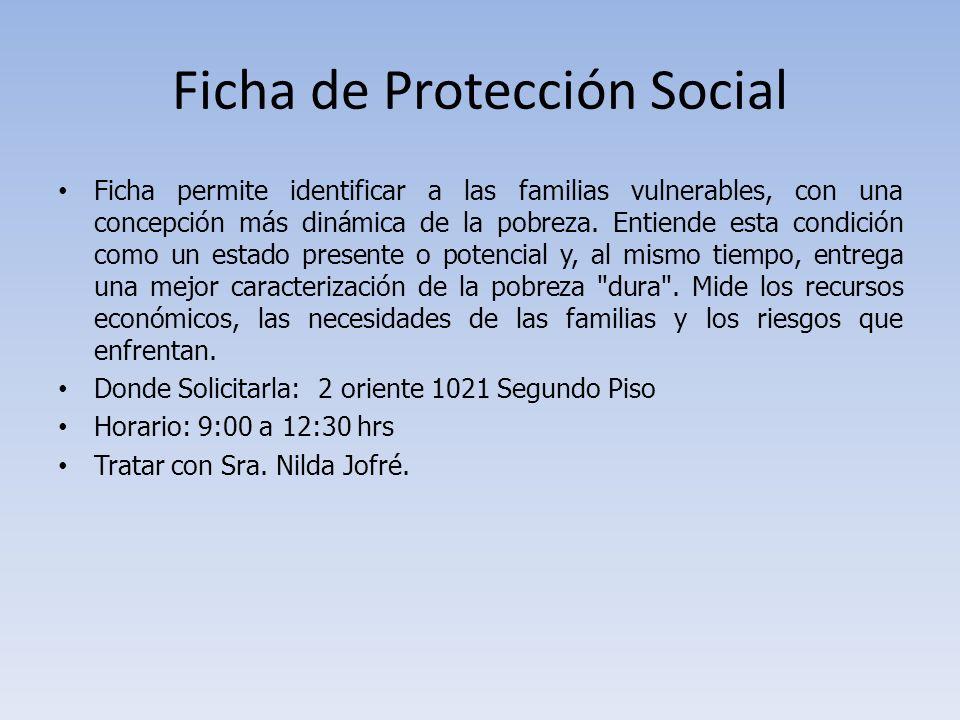 Ficha de Protección Social Ficha permite identificar a las familias vulnerables, con una concepción más dinámica de la pobreza. Entiende esta condició