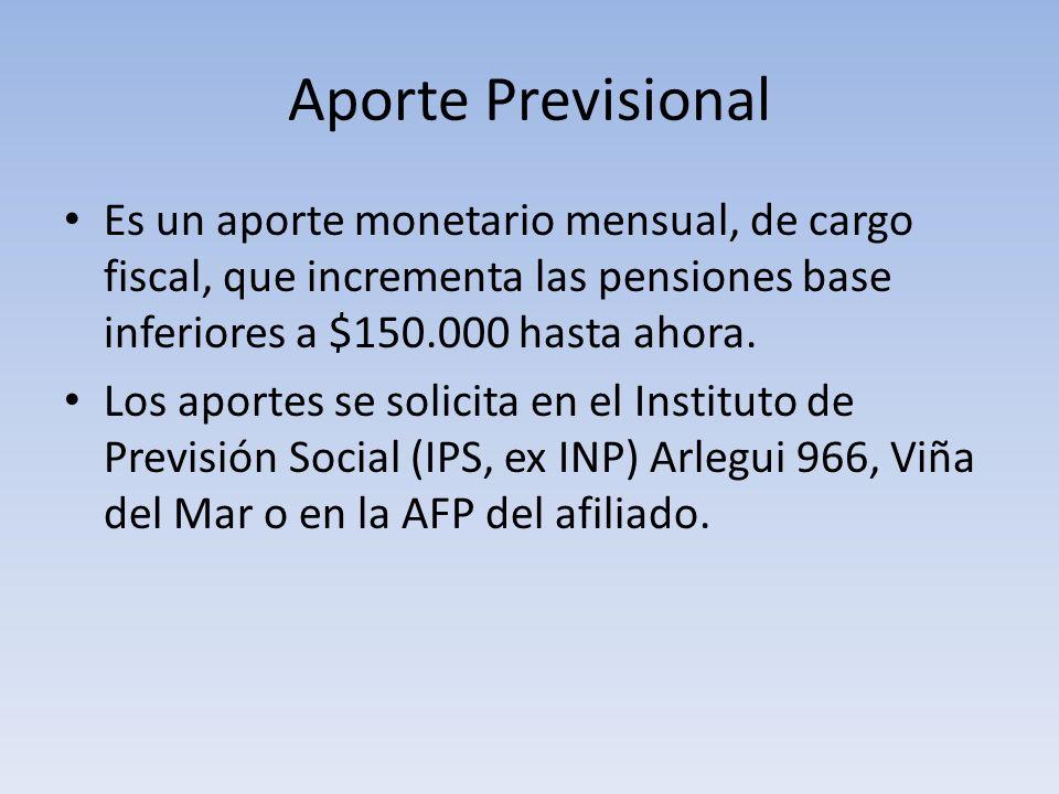 Aporte Previsional Es un aporte monetario mensual, de cargo fiscal, que incrementa las pensiones base inferiores a $150.000 hasta ahora. Los aportes s