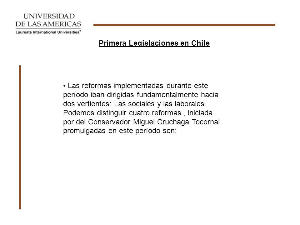 I Ley de habitaciones para obreros (1906): Se considera la primera ley de carácter social dictada en Chile.